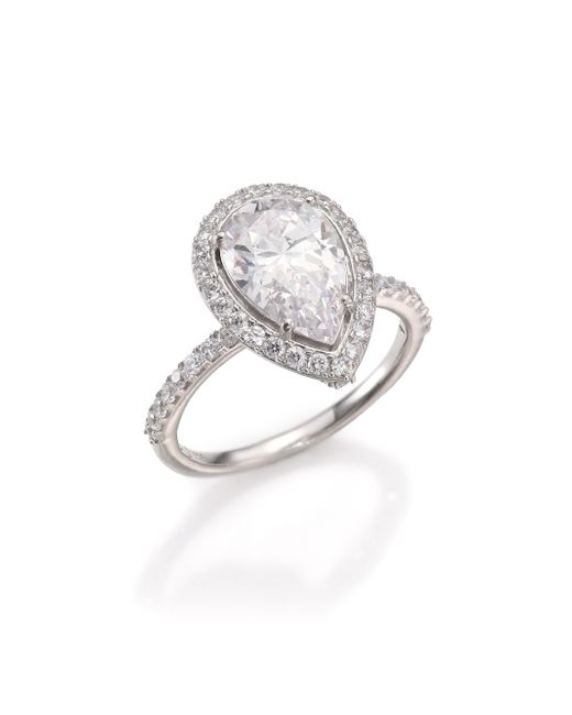 Adriana Orsini | Metallic Pave Pear Ring | Lyst