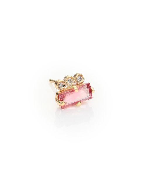 Jacquie Aiche   Metallic Diamond, Pink Tourmaline & 14k Yellow Gold Single Stud Earring   Lyst
