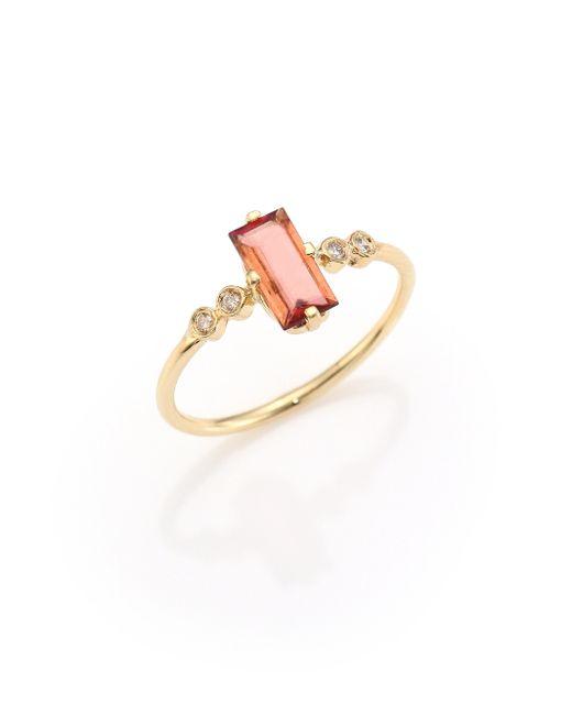 Jacquie Aiche | Metallic Diamond, Pink Tourmaline & 14k Yellow Gold Ring | Lyst