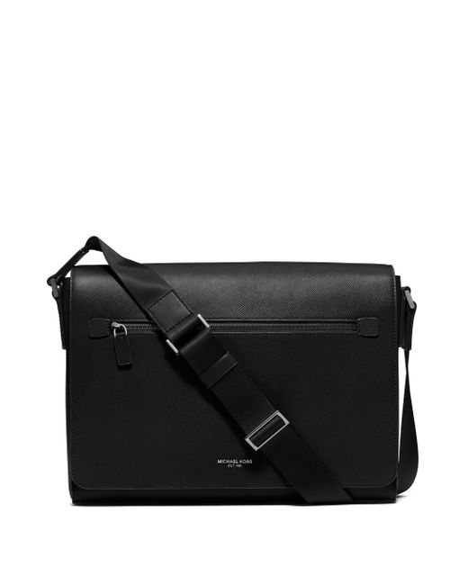 Michael Kors | Black Harrison Large Leather Messenger | Lyst