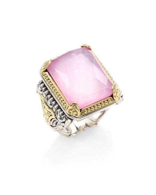 Konstantino | Metallic Iliada Pink Mother-of-pearl, Quartz Doublet, 18k Yellow Gold & Sterling Silver Rectangle Ring | Lyst