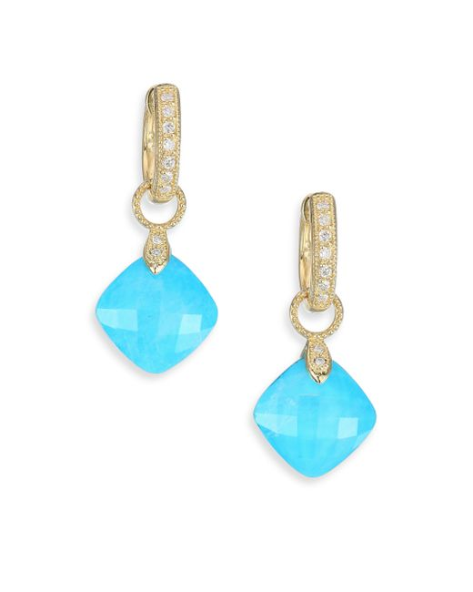 Jude Frances | Metallic Lisse Diamond, Turquoise, Moonstone & 18k Yellow Gold Earring Charms | Lyst