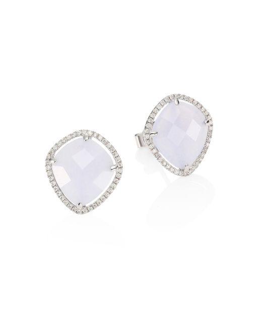 Meira T | Diamond, Blue Opal & 14k White Gold Stud Earrings | Lyst
