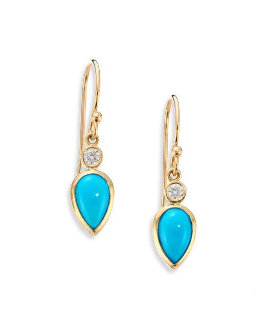 Zoe Chicco | Blue Diamond, Turquoise & 14k Yellow Gold Drop Earrings | Lyst