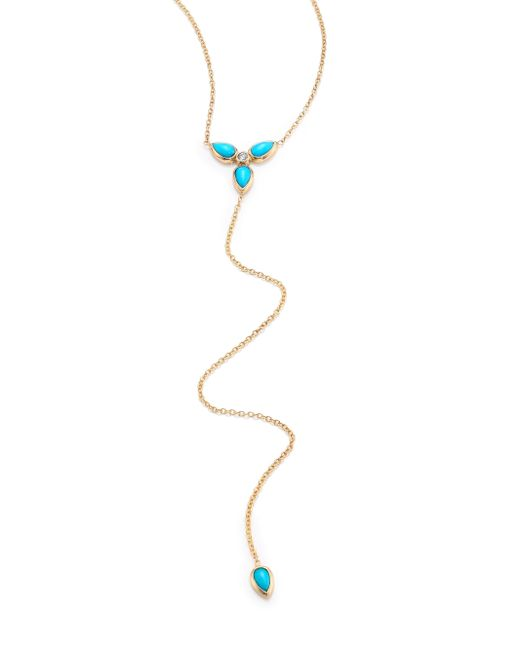 Zoe Chicco | Metallic Diamond, Turquoise & 14k Yellow Gold Lariat Necklace | Lyst