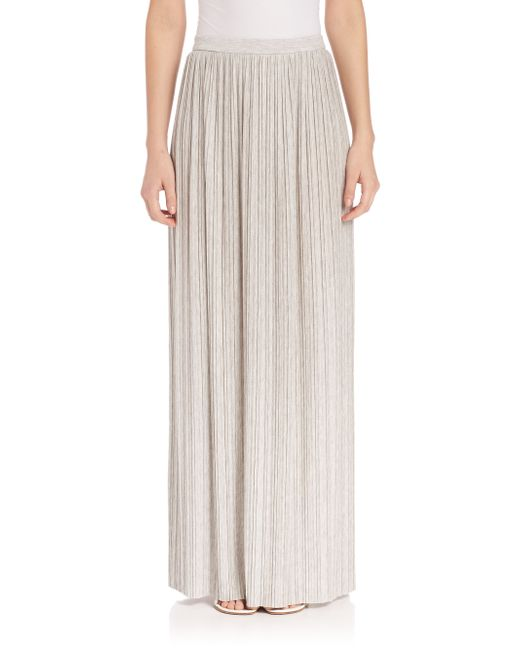 theory osnyo pleated maxi skirt in gray new grey melange