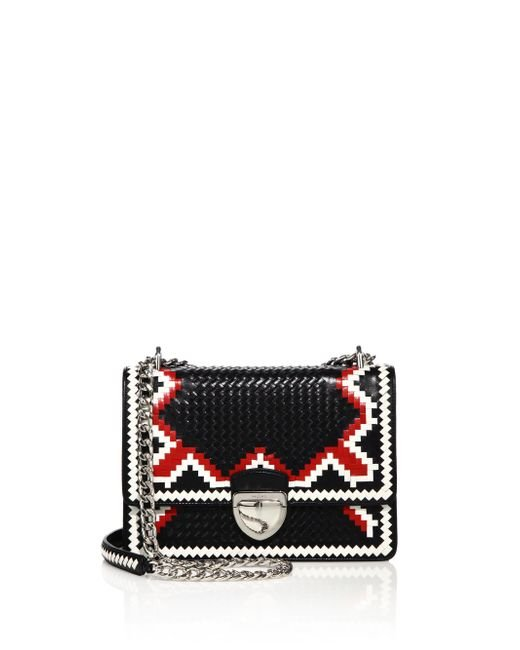Prada | Red Madras Woven Leather Chain Bag | Lyst