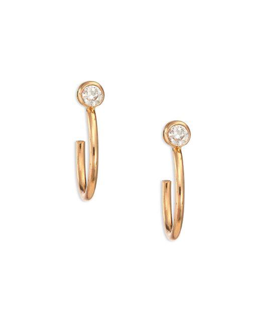 Zoe Chicco | Metallic Diamond & 14k Gold Huggie Hoop Earrings/0.4 | Lyst