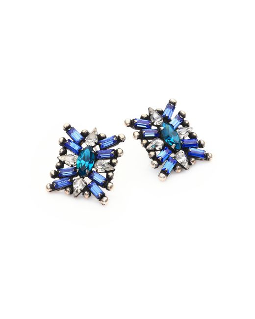 DANNIJO | Monaco Light Blue  Crystal Statement Earrings | Lyst