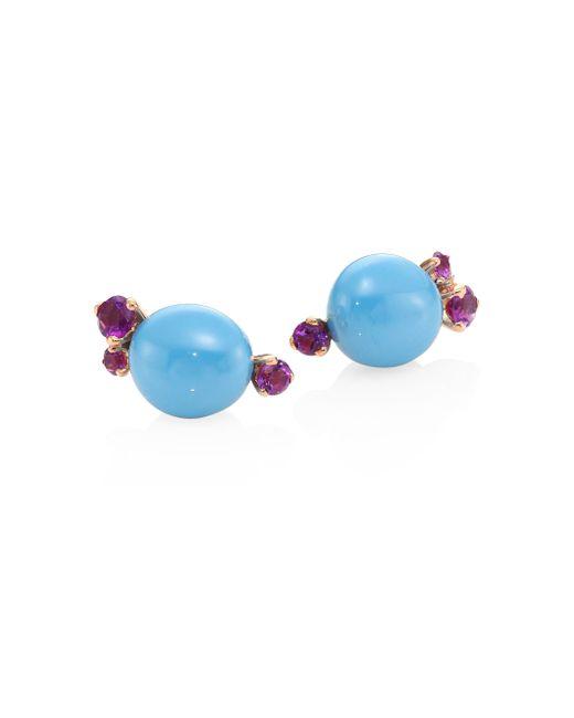 Pomellato | Metallic Amethyst, Ceramic & 18k Rose Gold Stud Earrings | Lyst