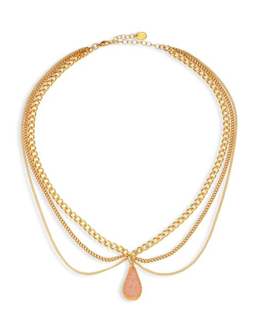 Chan Luu | Metallic Layered Chain & Agate Necklace | Lyst