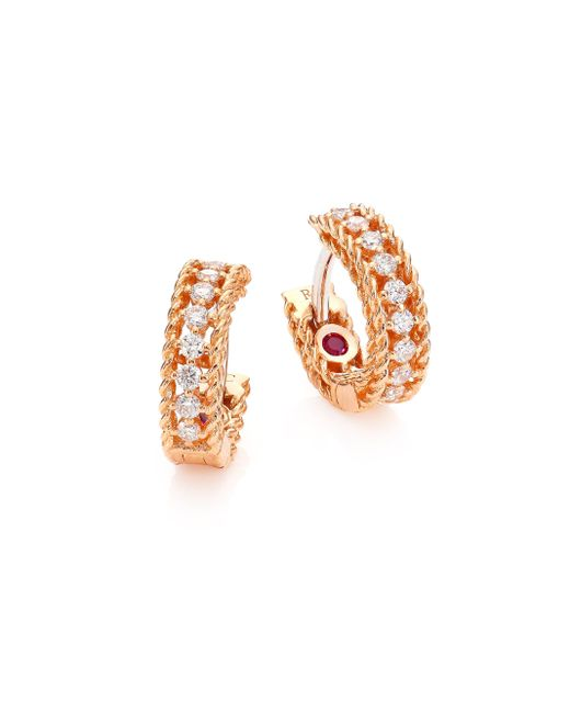 Roberto Coin | Metallic Symphony Diamond & Ruby Hoops | Lyst