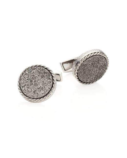 Tateossian | Metallic Textured Titanium & Silver Cuff Links for Men | Lyst
