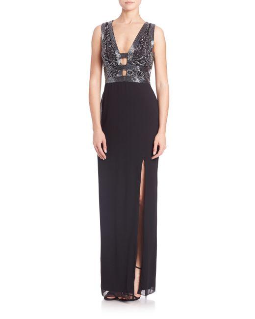 Basix Black Label   Black Embellished Cutout Crepe Gown   Lyst