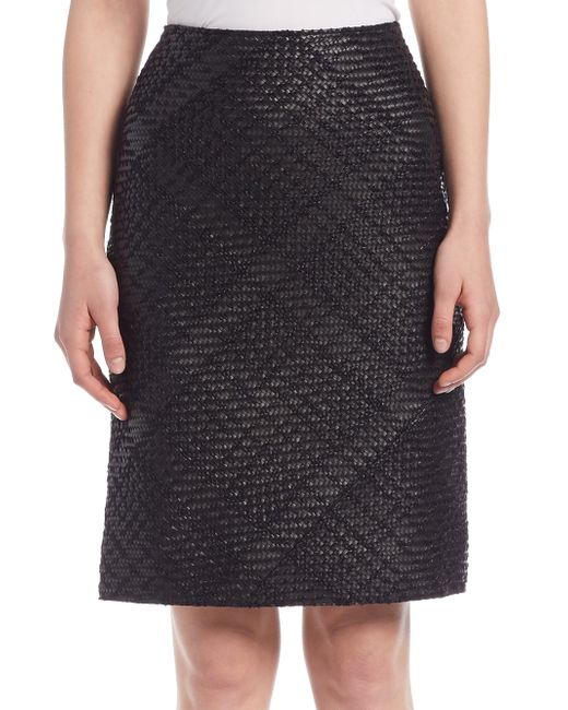 Lanvin | Black Whipstitch Leather Pencil Skirt | Lyst