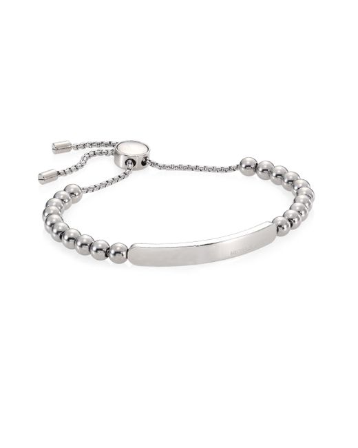 Michael Kors | Metallic Logo Plaque Slider Id Bracelet | Lyst