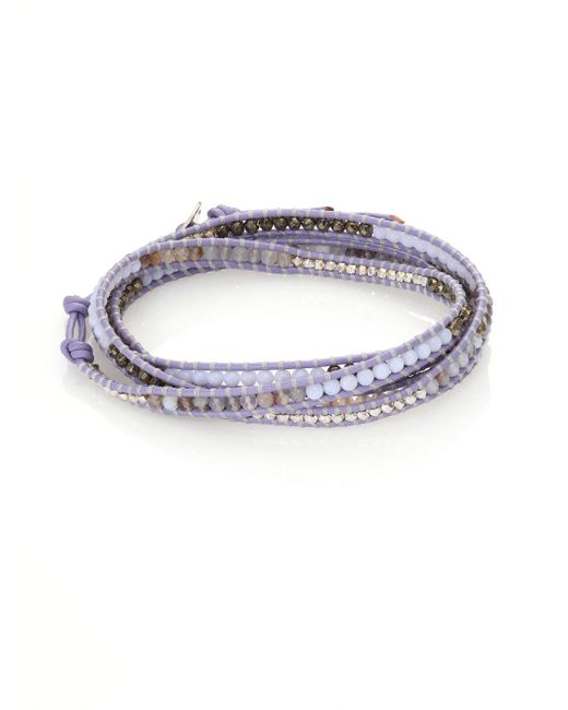 Chan Luu | Metallic Cat Eye, Dalmation Jasper, White Opal & Leather Beaded Wrap Bracelet | Lyst