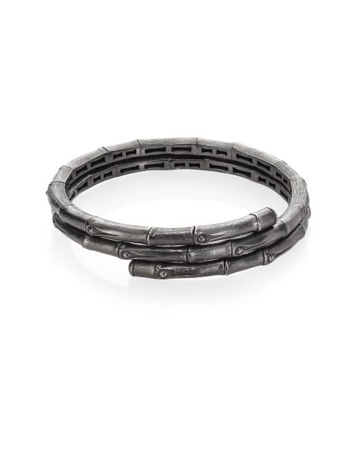John Hardy | Gray Bamboo Small Sterling Silver Double Coil Bracelet | Lyst