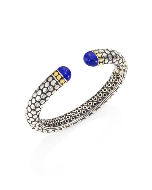 John Hardy | Multicolor Batu Dot Lapis Lazuli, 18k Yellow Gold & Sterling Silver Medium Kick Cuff Bracelet | Lyst