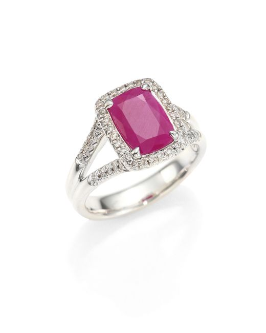 John Hardy | Multicolor Classic Chain Diamond, Ruby & Sterling Silver Ring | Lyst