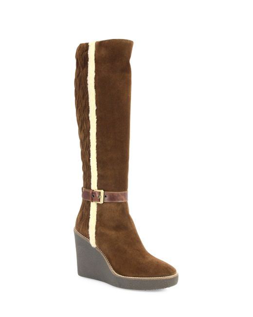 aquatalia viviana suede and faux fur wedge boots in brown