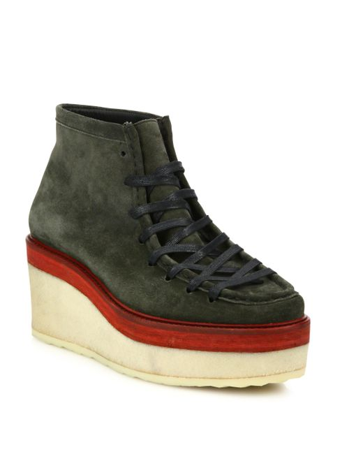Pierre hardy Trapper Suede Platform Ankle Boots in Green ...