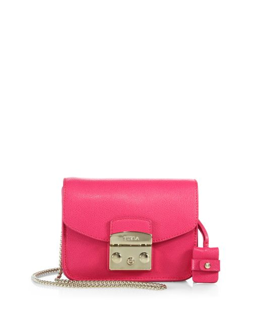 Furla Gloss Pink Leather Mini 'julia' Crossbody Bag in ...