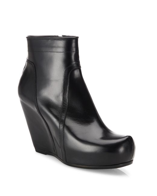 Rick Owens | Black Classic Leather Wedge Platform Booties | Lyst