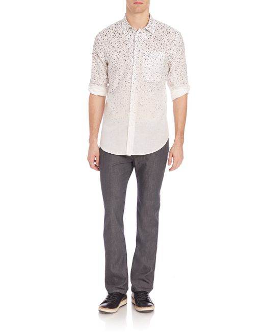 John Varvatos Slim Fit Casual Button Down Shirt In White