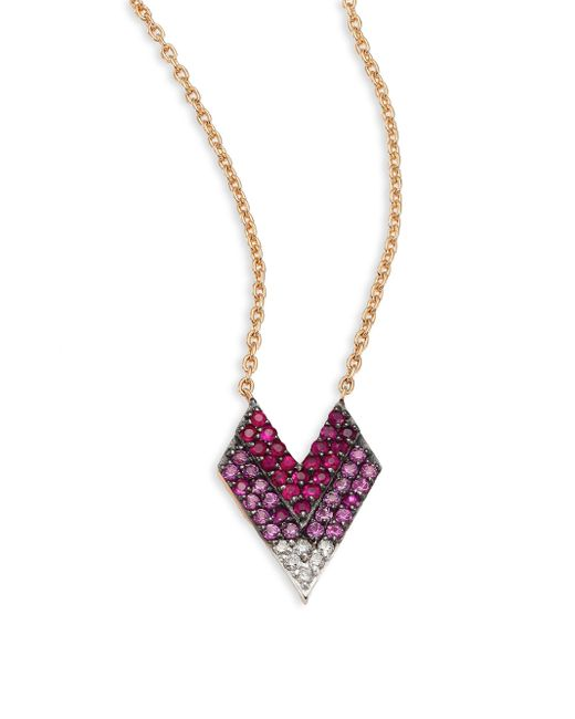 Kismet by Milka | Metallic Shades Of Love Diamond, Ruby, Pink Sapphire & 14k Rose Gold Pendant Necklace | Lyst
