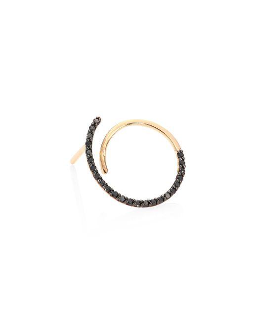 Kismet by Milka   Metallic Spectrum Black Diamond & 14k Rose Gold Single Hoop Earring   Lyst