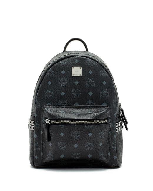 MCM | Black Stark Side Stud Medium Coated Canvas Backpack | Lyst