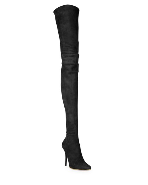 balmain suede thigh high boots in black noir black lyst