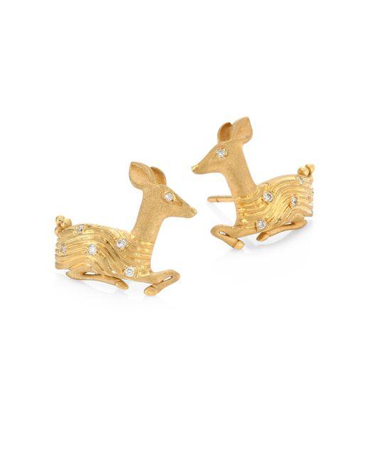 Temple St. Clair   Metallic Deer Diamond & 18k Yellow Gold Stud Earrings   Lyst