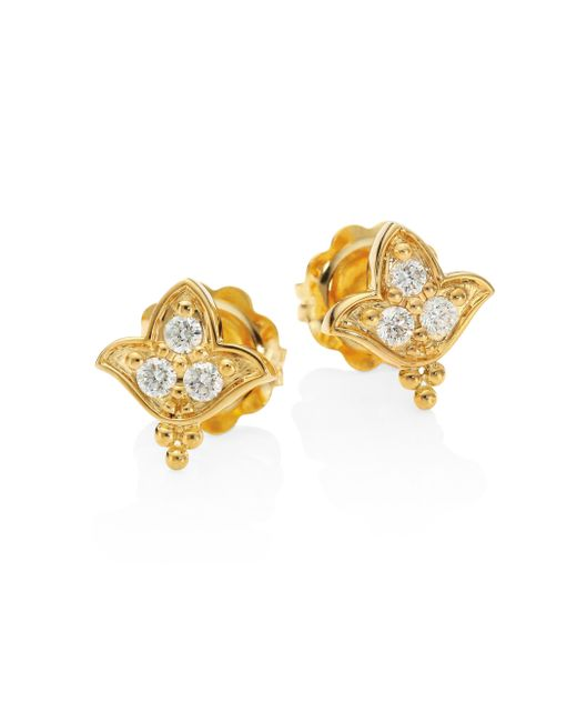 Temple St. Clair | Metallic Lotus Diamond & 18k Yellow Gold Stud Earrings | Lyst