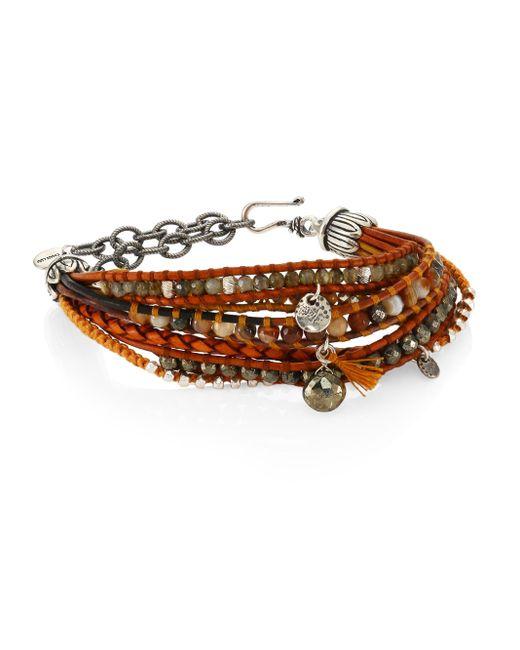 Chan Luu   Pyrite, Brown Sardonyx, Abalone, Labradorite & Leather Multi-strand Bracelet   Lyst