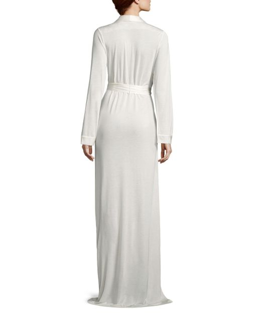 La perla airy blooms long robe in white lyst for Saks 5th avenue robes de mariage