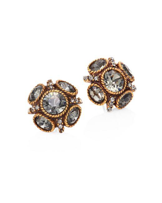 Oscar de la Renta   Metallic Classic Crystal Button Stud Earrings   Lyst
