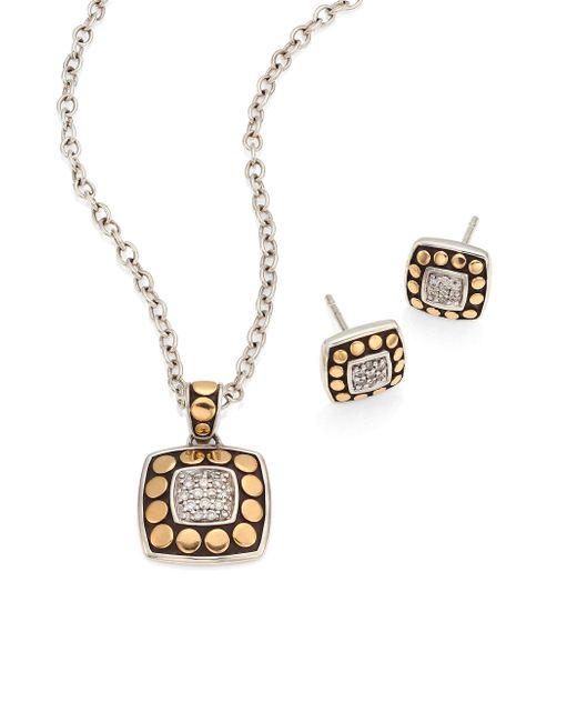 John Hardy | Metallic Dot Diamond, 18k Yellow Gold & Sterling Silver Pendant Necklace & Stud Earring Gift Set | Lyst
