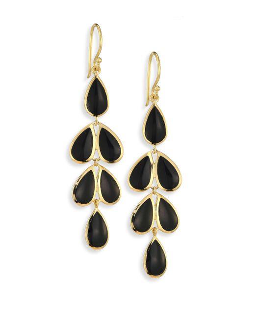 Ippolita   Metallic Polished Rock Candy? Black Onyx & 18k Yellow Gold Teardrop Cascade Earrings   Lyst