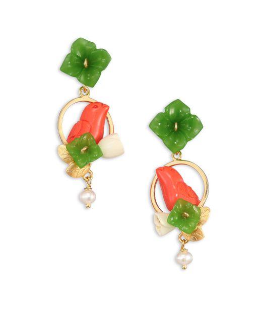 Of Rare Origin | Green Chicks Jade, Coral, Bone & Freshwater Pearl Drop Earrings | Lyst