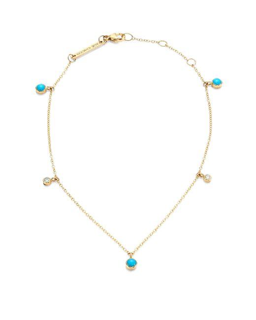 Zoe Chicco | Metallic Diamond, Turquoise & 14k Yellow Gold Anklet | Lyst