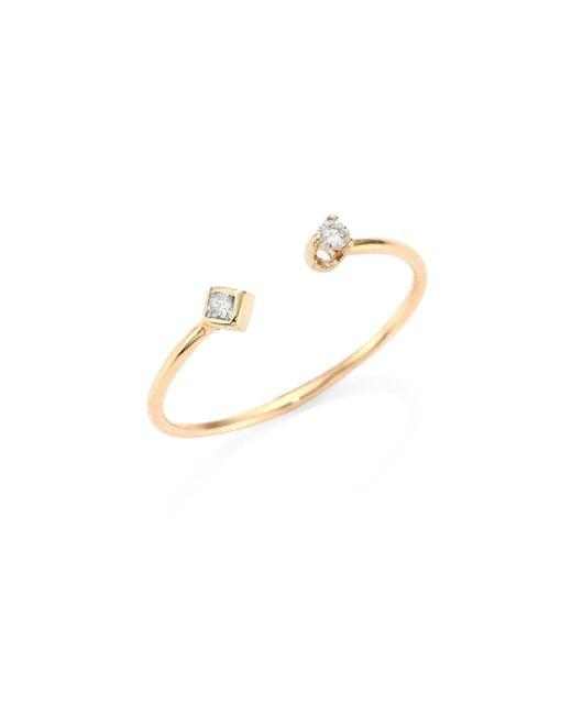 Zoe Chicco   Metallic Diamond & 14k Yellow Gold Open Ring   Lyst