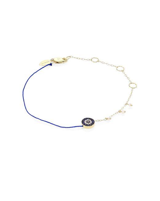 Meira T   Metallic Evil Eye Diamond, Blue Sapphire & Yellow Gold Bracelet   Lyst