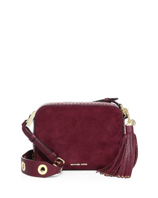 MICHAEL Michael Kors | Purple Brooklyn Large Grommeted Suede Camera Bag | Lyst