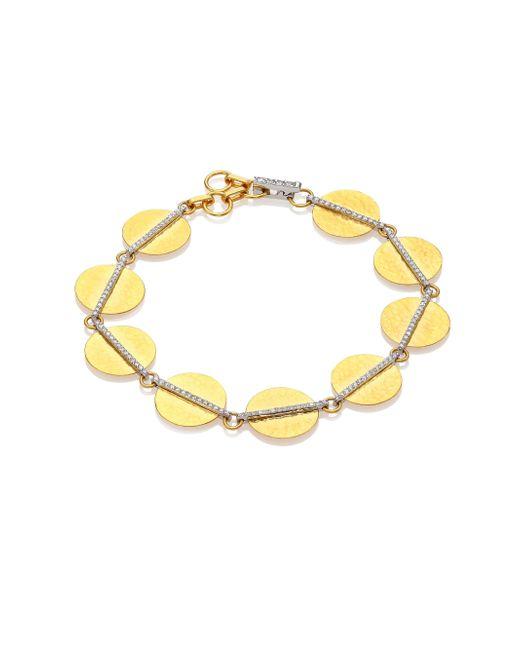 Gurhan | Metallic Lush Diamond, 24k Yellow Gold & 18k White Gold Bracelet | Lyst
