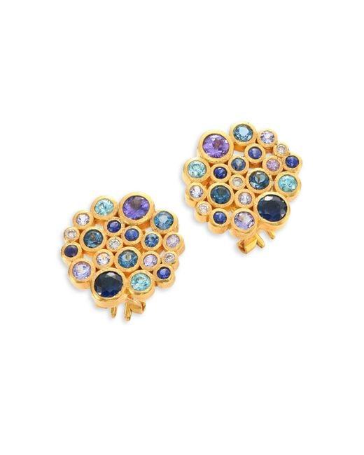 Gurhan | Metallic Pointelle Diamond, Multi-stone & 24k Yellow Gold Stud Earrings | Lyst