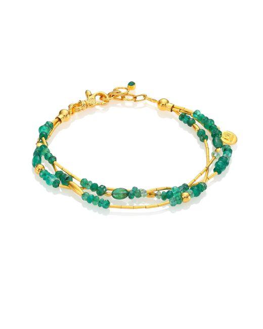 Gurhan | Green Delicate Rain Emerald & 24k Yellow Gold Triple-strand Bracelet | Lyst