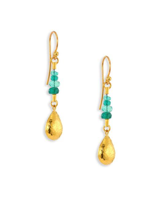 Gurhan | Metallic Delicate Rain Emerald & 24k Yellow Gold Drop Earrings | Lyst