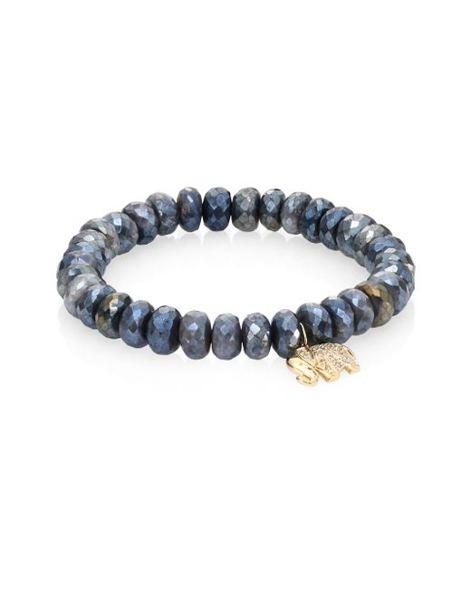 Sydney Evan | Gray Small Elephant Diamond, Dark Grey Quartz & 14k Yellow Gold Beaded Stretch Bracelet | Lyst